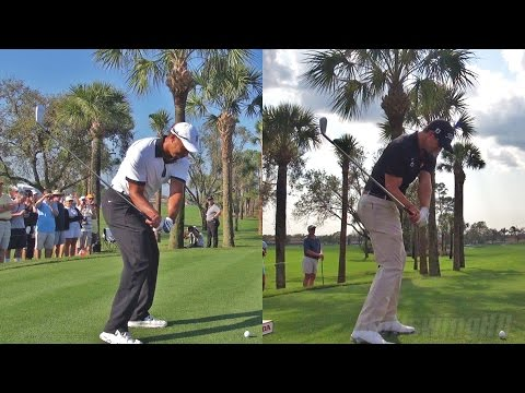 TIGER WOODS vs ADAM SCOTT - 2014 SYNCED IRON DRIVES WITH BALL FLIGHT & SLOW MOTION 1080p HD