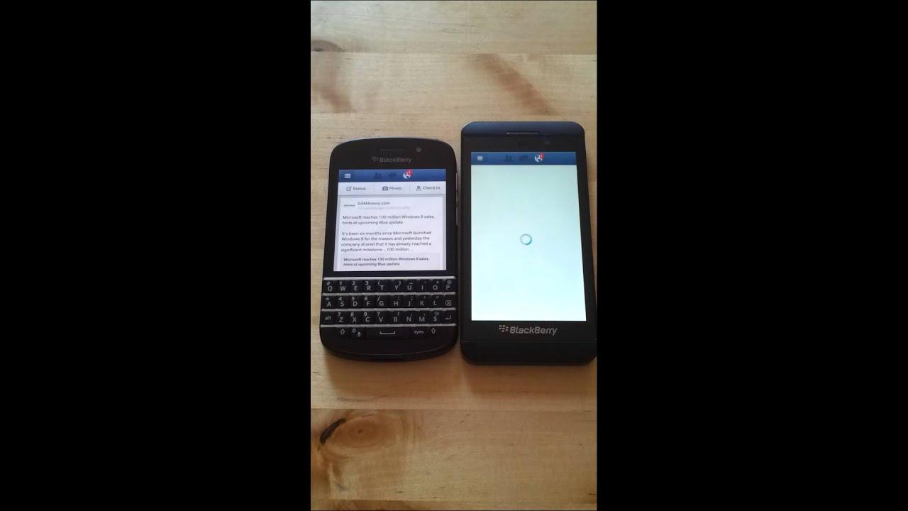 blackberry q10 vs blackberry z10 with facebook app youtube
