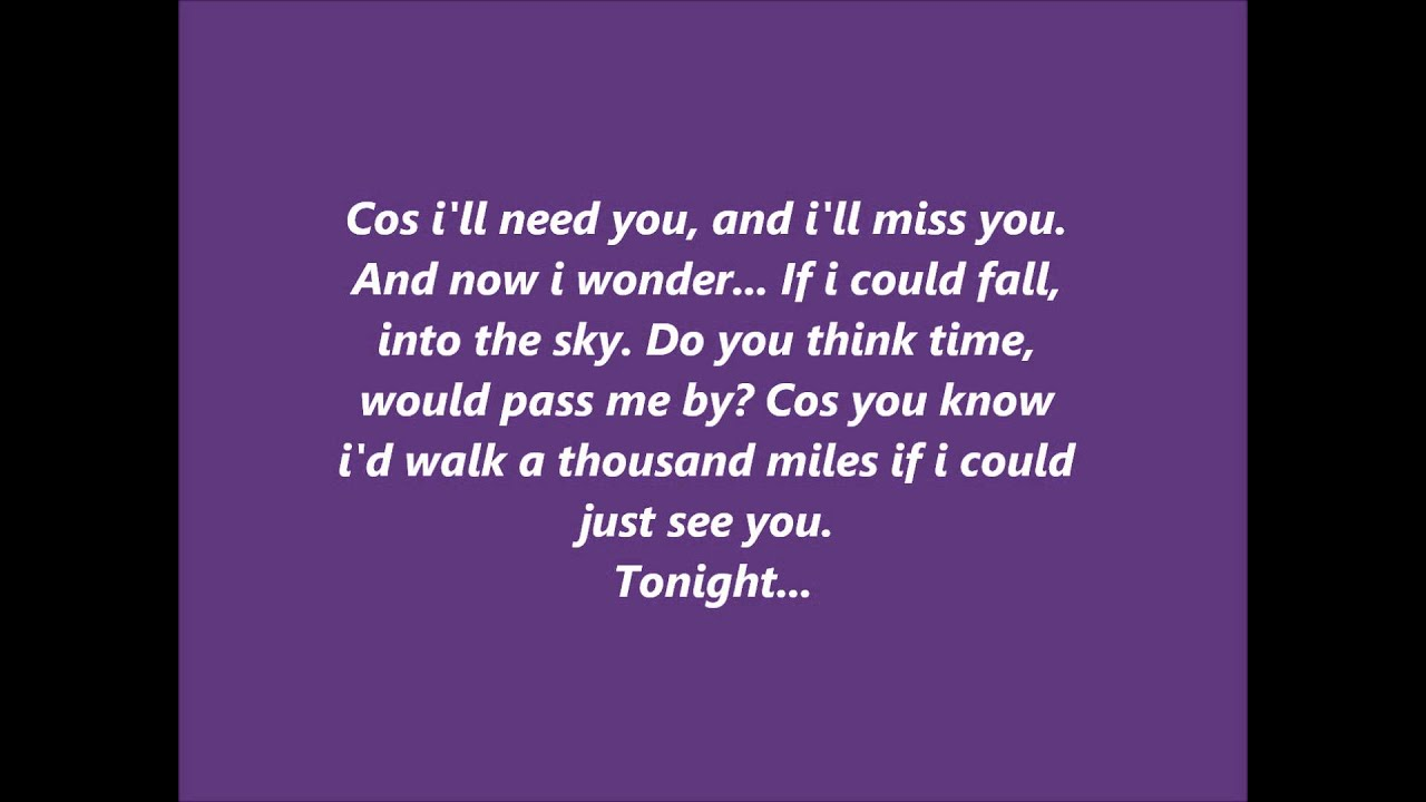 A thousand miles (lyrics) - YouTube