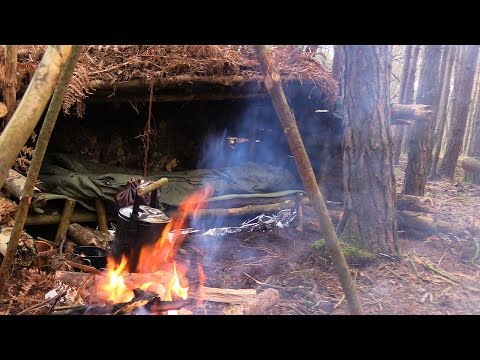 Solo Camping under a Tree Root - Stone Fire, Raised Bed, Cooking Tripod