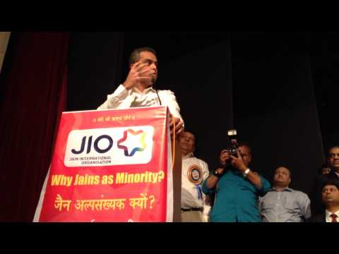 Milind Deora addressing the Jain community at Birla Matushri Sabhagar, Mumbai on 15th Feb'14