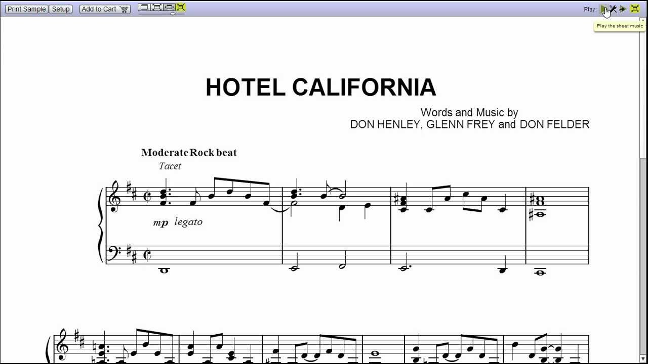 hotel california music sheet: