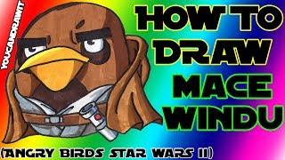 How To Draw Mace Windu Bird From Angry Birds Star Wars 2