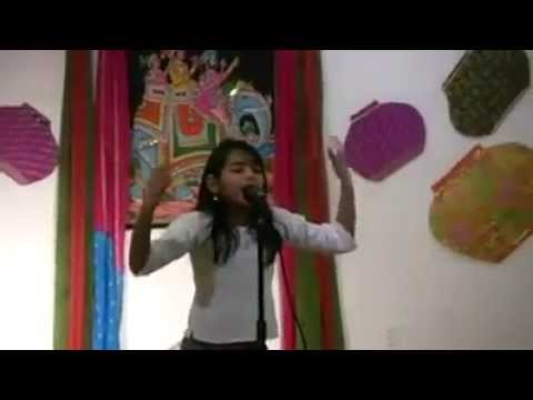 Cute Little Indian Girl Singing a Song.