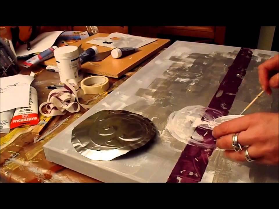 comment faire un tableau abstrait peinture acrylique speed painting 1 youtube. Black Bedroom Furniture Sets. Home Design Ideas