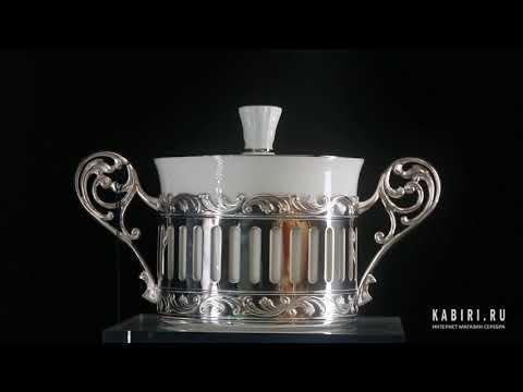 Набор из 2-х серебряных кофейных чашек «Богема» с ложками и сахарницей - Видео 1