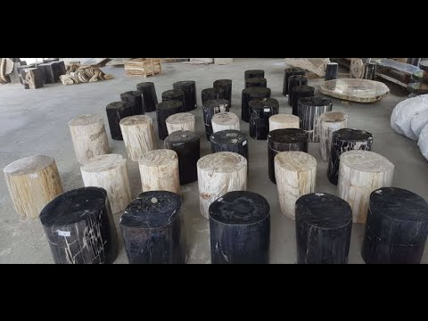 petrified wood stools youtube. Black Bedroom Furniture Sets. Home Design Ideas