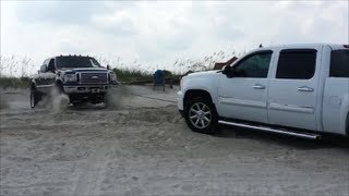 Huge Custom F250 Pulls Stuck GMC Denali Truck Out Of The