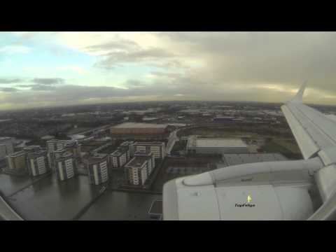 Embraer 190 Landing at London City airport cabin video