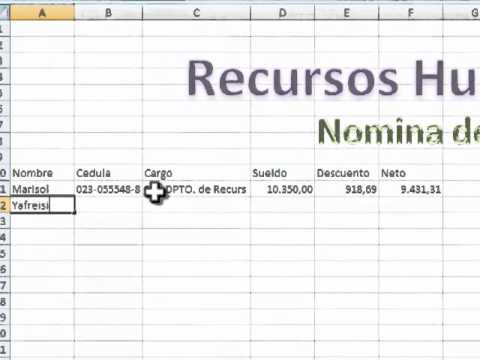 Como hacer una nomina en excel youtube for Nomina en excel xls