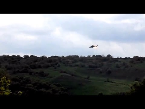 Helicopter Fires Rockets While Anti Terrorist Opperation In Sloviansk Eastern Ukraine May 5 2014