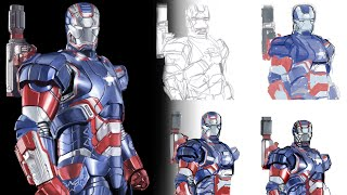 How To Draw Iron Man 3's Iron Patriot! [Realistic Speed