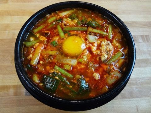 Haemul-sundubu-jjigae (Spicy soft tofu stew with seafood: 해물순 ...