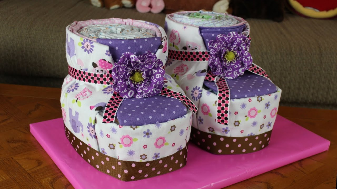 Diaper Cake Baby Booties How To Make Youtube