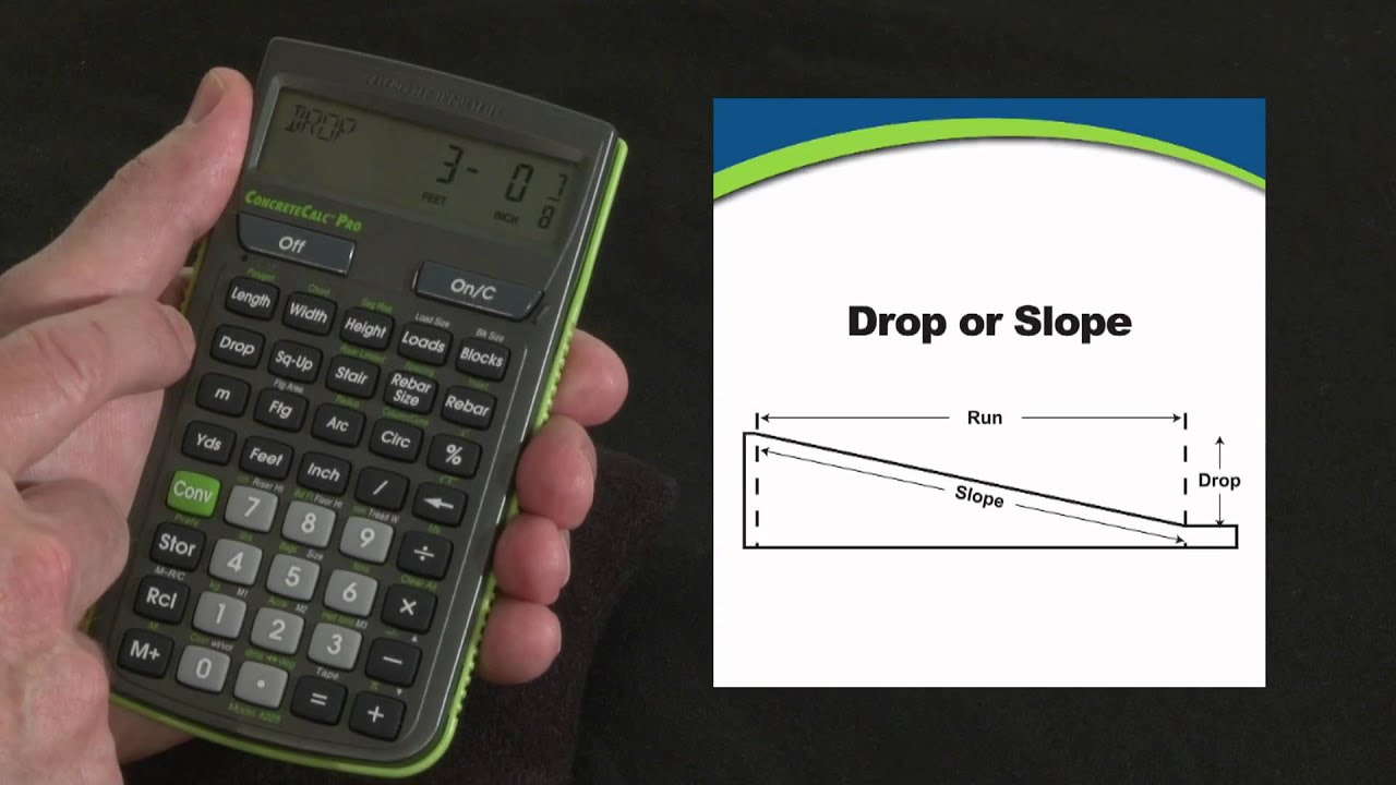 Concretecalc pro drop or slope calculations how to youtube for Drainage slope calculator