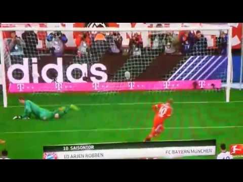 Arjen Robben Penalty Goal ~ Bayern Munich vs Schalke 5-1 (Bundesliga) ~ 01/03/2014 HD
