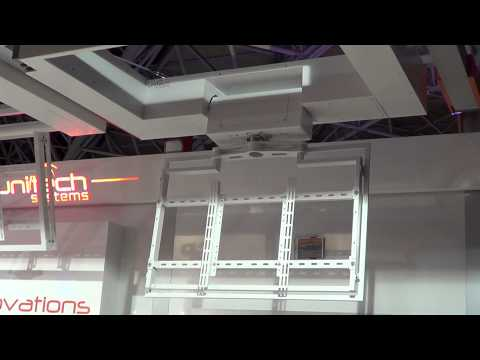 Unitech Systems FPLCV2SLIM+R flat tv ceiling lift with rotation at ISE 2013-1