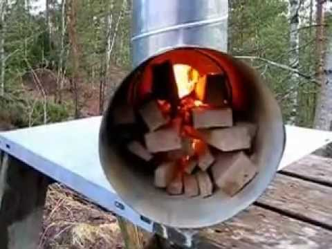 Rocket stove with big fire tube youtube for Rocket fire heater