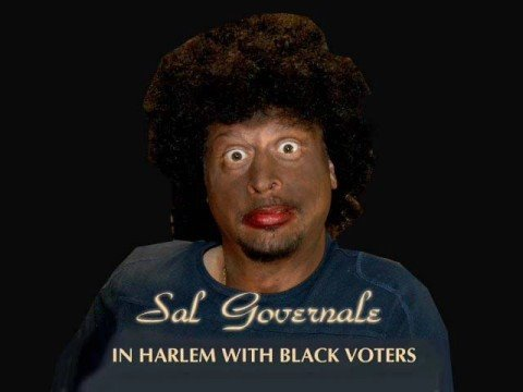 Sal In Harlem with black voters