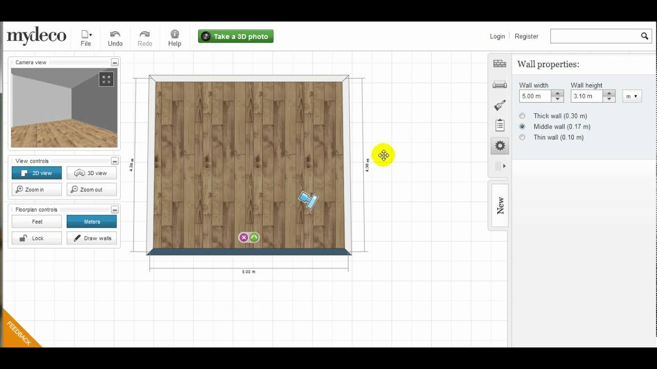 Mydeco 3d room tutorial how to resize a room shape youtube for My deco 3d planner