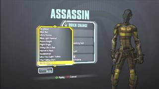 Borderlands 2 All Skins And Heads For The Assassin(Zer0