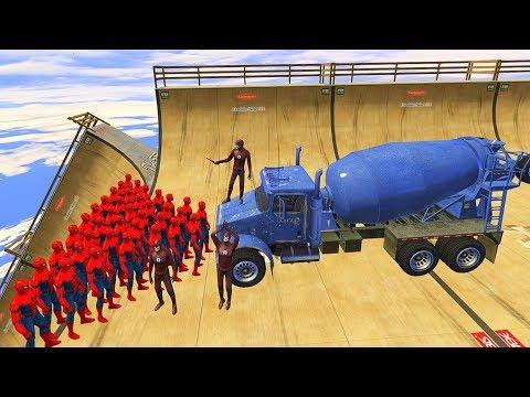 GTA 5 Crazy SPIDERMAN VS FLASH Ragdolls(Euphoria Physics, Ragdolls, Fails, Funny Moments)