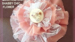 Handmade QUICK AND EASY SHABBY CHIC FLOWER, Free Sewing