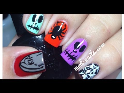 Skull and Spider Halloween Nails