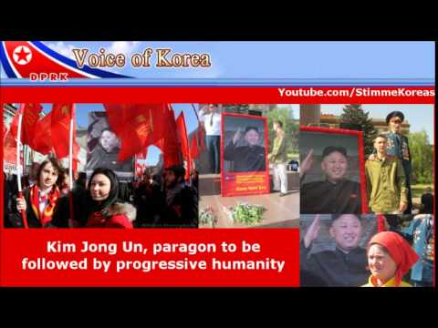 Posters of Kim Jong Un at May Day Rally in Russia und Ukraine