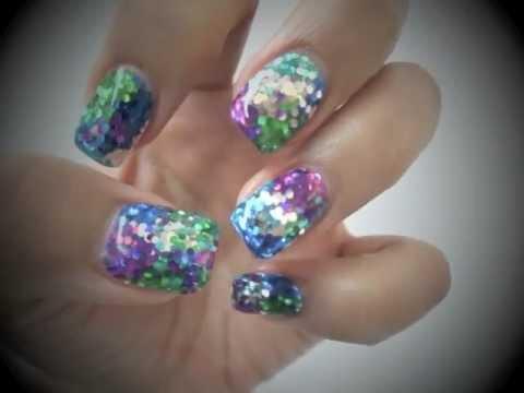 2 Minute Glitter Bling Gel  Nails Tutorial*QQ二分鐘閃甲分享