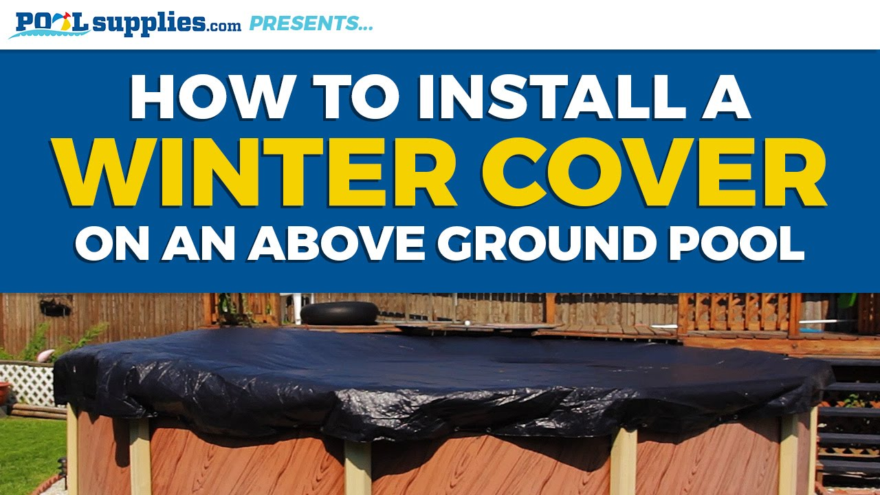How to install your above ground pool 39 s winter cover youtube for Swimming pool winter cover clips