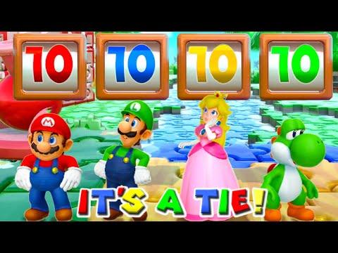 Super Mario Party MiniGames - Mario Vs Luigi Vs Yoshi Vs Bowser (Master Cpu)
