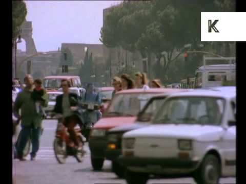 1970s Rome, Italy, Street Scene, Busy Road, 35mm Archive Footage