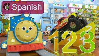 Learn Numbers (SPANISH) - Aprende los números con Max el tren y Bill el camión monstruo