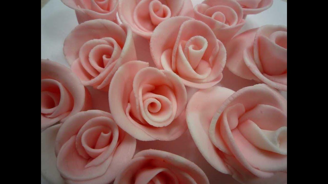Fondant-Rosen selber machen/How to make Fondant Roses - YouTube