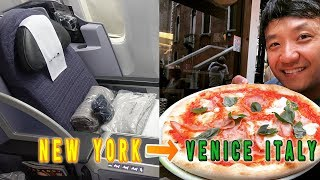 United Airline BUSINESS CLASS New York to Venice Italy & KOREA BBQ!