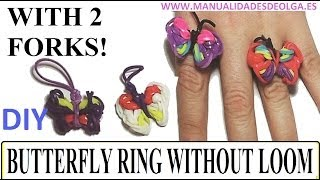 How To Make A Butterfly Ring With 2 Forks. Without Rainbow