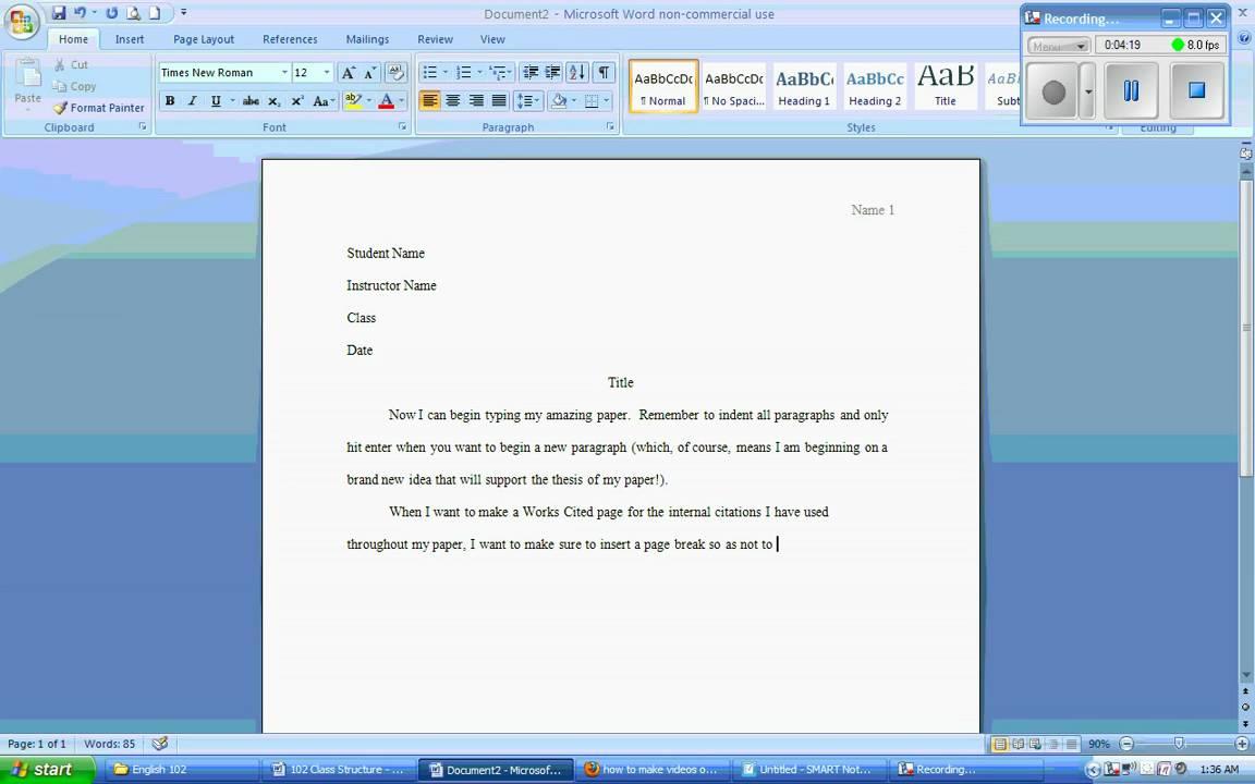 Microsoft Word 2007 Mla Formatting Wmv Youtube