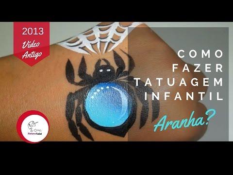 Pintura Facial by Gladis | Como fazer uma tatuagem infantil de aranha com teia?