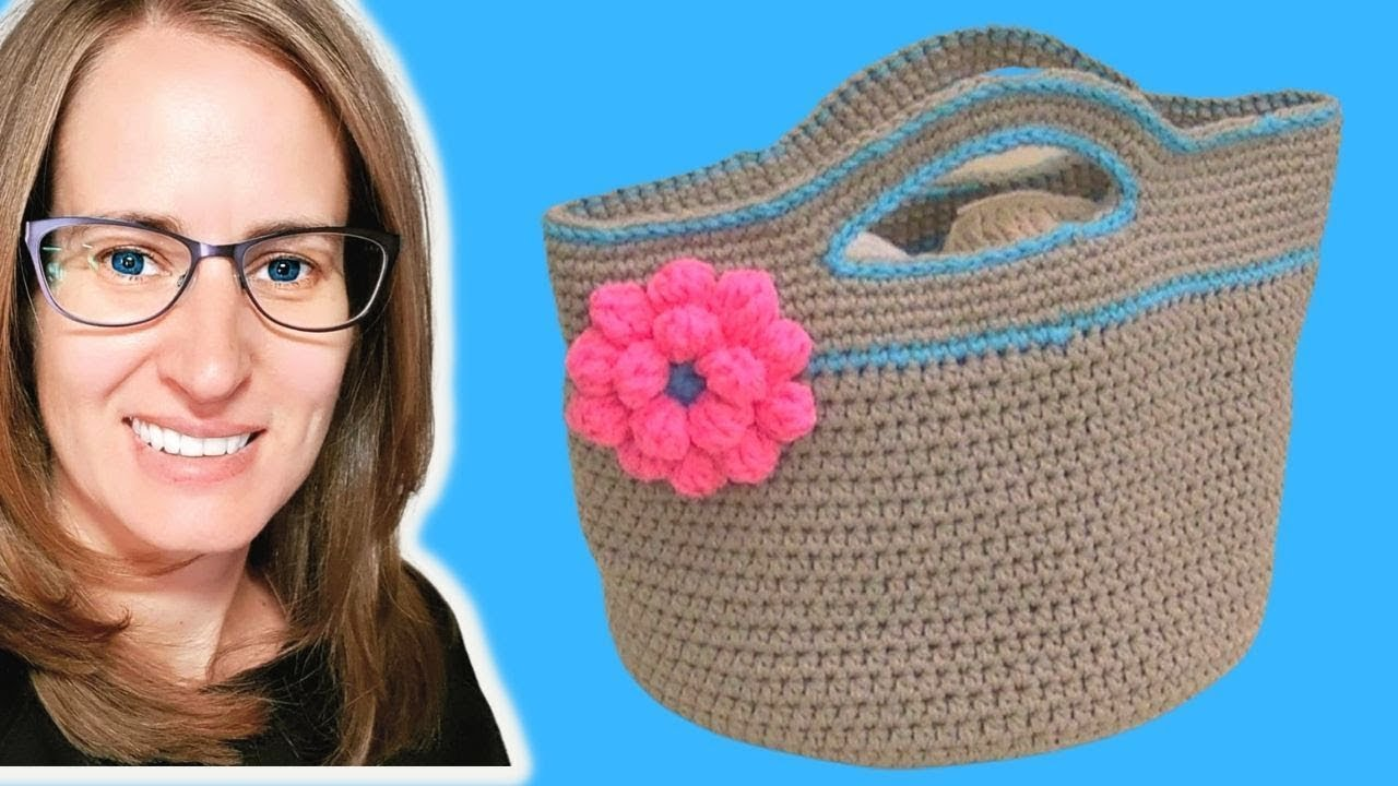 Crochet Tote Bag Tutorial Part 1 : Crochet Basket Stash - Buster Part 1 of 2 - YouTube