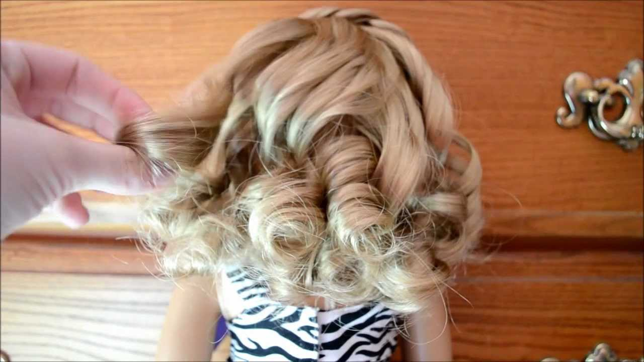 How To Curl Your American Girl Doll S Hair Youtube