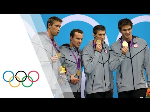 Michael Phelps' Final Olympic Race - Men's 4 x 100m Medley | London 2012 Olympics, The USA team, featuring Michael Phelps in his final Olympic race, win the gold medal in the 4 x 100m medley. The team, consisting of Phelps, Matt Grevers, Br...