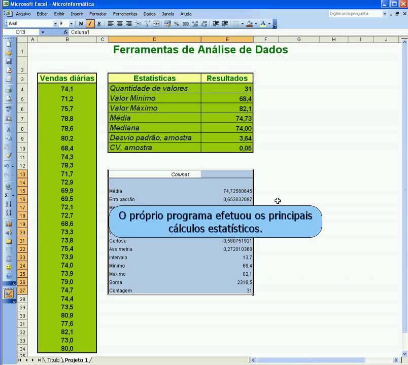 microinformatica I - Analise de dados- Estat no Excel ...