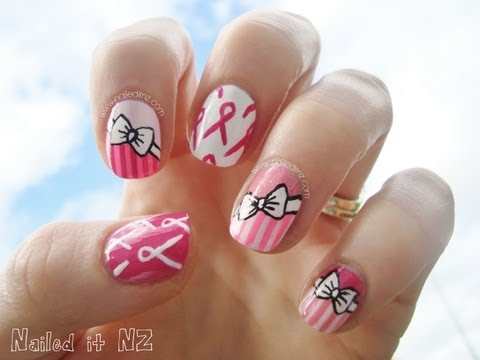 Breast Cancer Awareness month ♥ Pink Nail Art With Ribbons and Bows