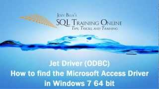 Jet Driver How To Find The Microsoft Access (ODBC) In