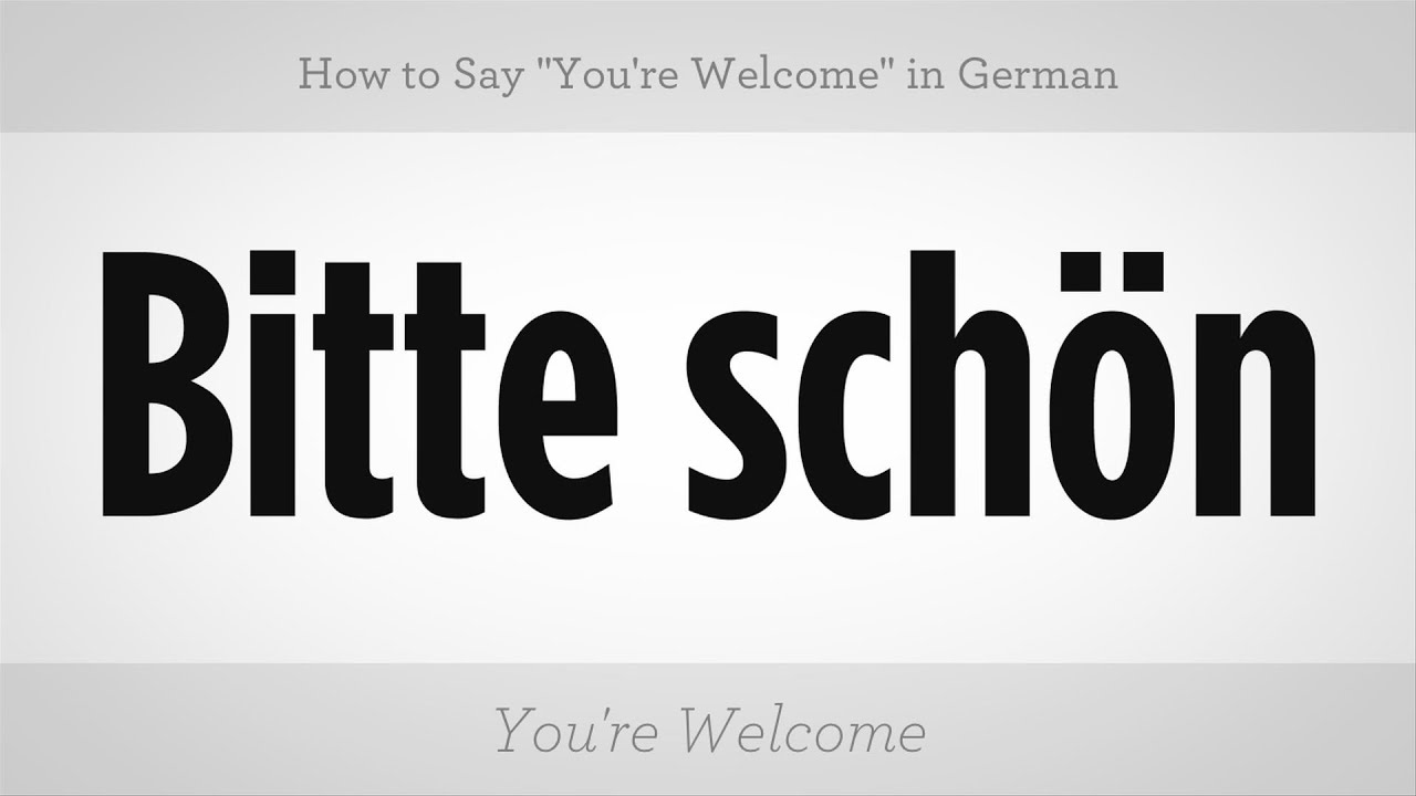 how to say quotyoure welcomequot in german german lessons