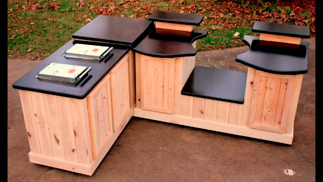 Big green egg mobile kitchens big green egg concrete counter tops youtube - Kitchen cabinet concrete table top ...