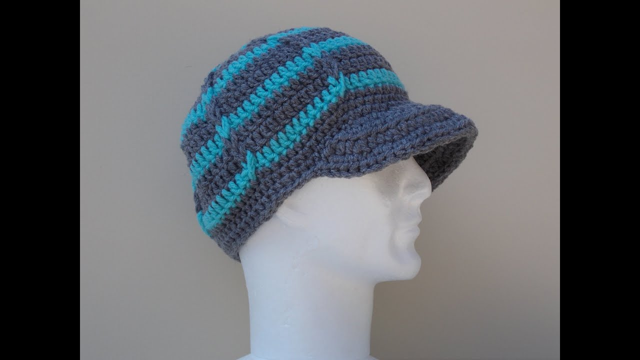 Peaked Cap Knitting Pattern : Hat Brim / Peak Crochet Tutorial - YouTube