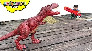Attack of the RED TREX | Skyheart saves plushies dinosaurs for kids nerf war