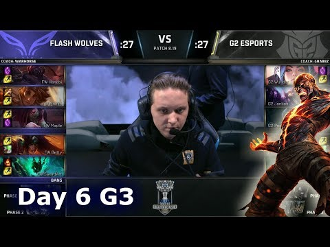 FW vs G2 | Day 6 Group A Decider S8 LoL Worlds 2018 | Flash Wolves vs G2 eSports